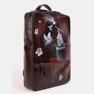 Модный коричневый рюкзак с росписью ATS-3919 210553