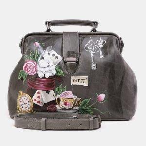 Солидная серая сумка с росписью ATS-3923