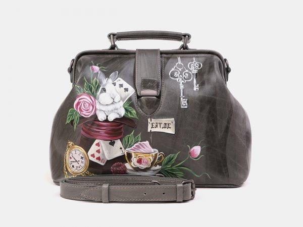 Кожаная серая сумка с росписью ATS-3923