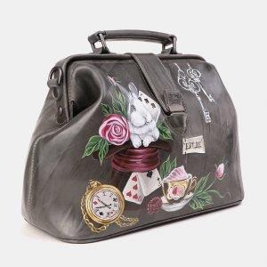 Кожаная серая сумка с росписью ATS-3923 210533