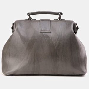 Кожаная серая сумка с росписью ATS-3923 210534
