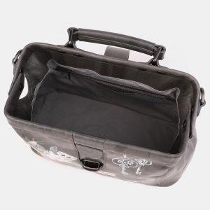 Кожаная серая сумка с росписью ATS-3923 210535