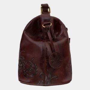 Кожаная коричневая сумка с росписью ATS-1650