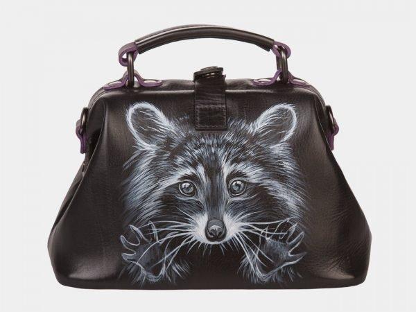 Удобная черная сумка с росписью ATS-1358