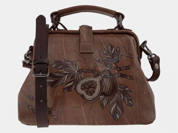 Вместительная бежевая сумка с росписью ATS-1655