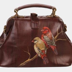 Функциональная коричневая сумка с росписью ATS-1361