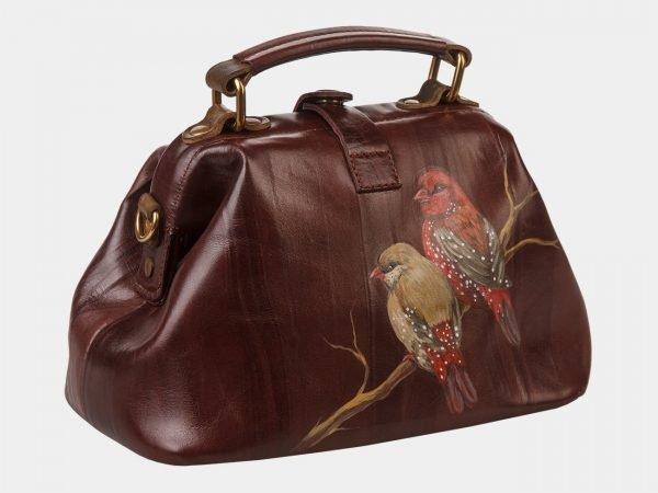 Удобная коричневая сумка с росписью ATS-1361
