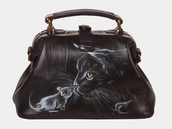 Солидная черная сумка с росписью ATS-1360