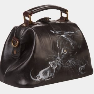 Солидная черная сумка с росписью ATS-1360 216798