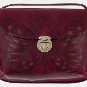 Уникальный темно-бордовый клатч с росписью ATS-1658