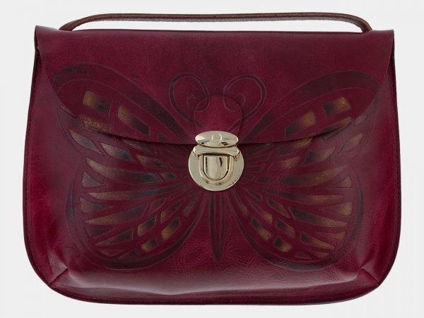 Вместительный темно-бордовый клатч с росписью ATS-1658
