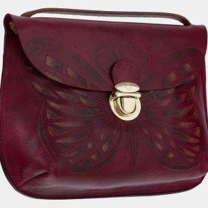 Вместительный темно-бордовый клатч с росписью ATS-1658 216548