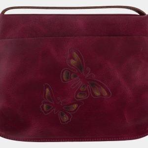 Вместительный темно-бордовый клатч с росписью ATS-1658 216549