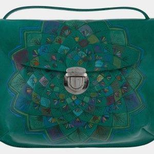 Уникальный зеленый клатч с росписью ATS-1659