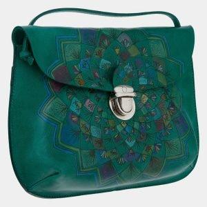 Неповторимый зеленый клатч с росписью ATS-1659 216543