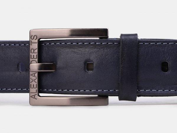 Солидный синий мужской джинсовый ремень ATS-3949