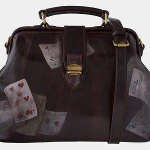 Стильная коричневая сумка с росписью ATS-1760