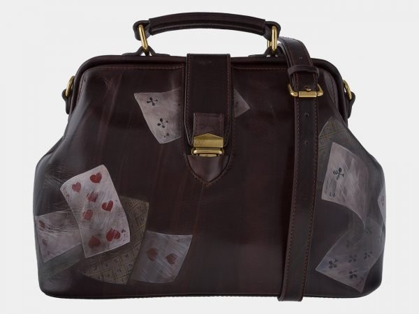 Уникальная коричневая сумка с росписью ATS-1760