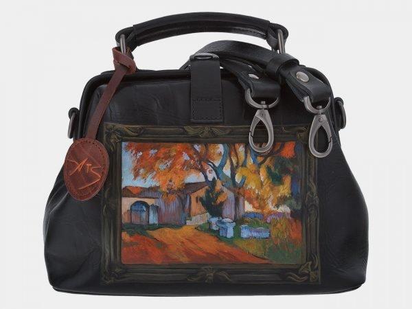 Кожаная черная сумка с росписью ATS-1768