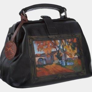 Кожаная черная сумка с росписью ATS-1768 216351