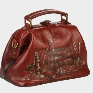 Функциональная светло-коричневая сумка с росписью ATS-1409 216790