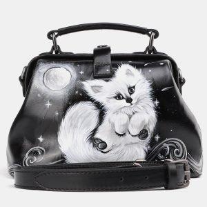 Кожаная черная сумка с росписью ATS-3936