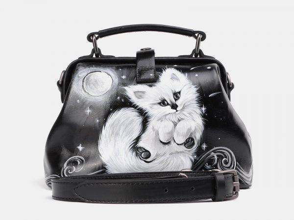 Уникальная черная сумка с росписью ATS-3936
