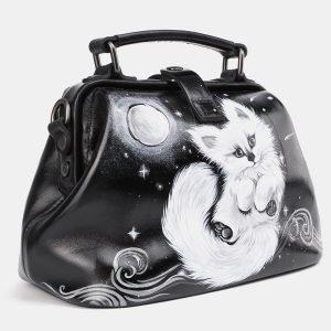 Уникальная черная сумка с росписью ATS-3936 210475