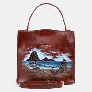 Удобная светло-коричневая сумка с росписью ATS-3931