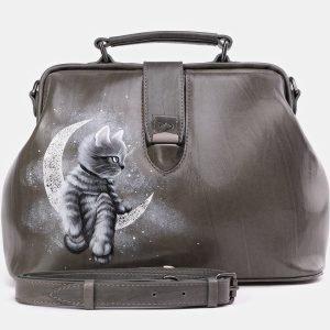 Модная серая сумка с росписью ATS-3932