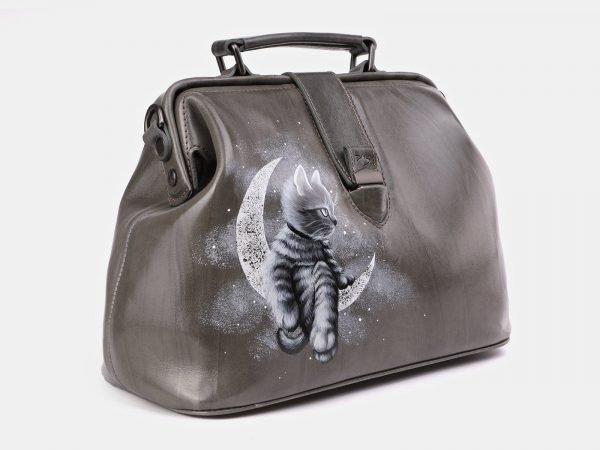 Кожаная серая сумка с росписью ATS-3932
