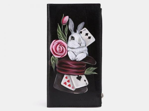 Модный черный портмоне с росписью ATS-3937