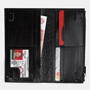 Уникальный черный портмоне с росписью ATS-3937