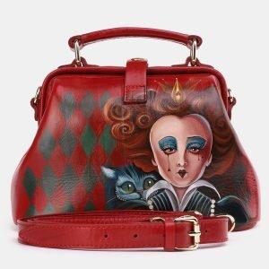 Неповторимая красная сумка с росписью ATS-3954