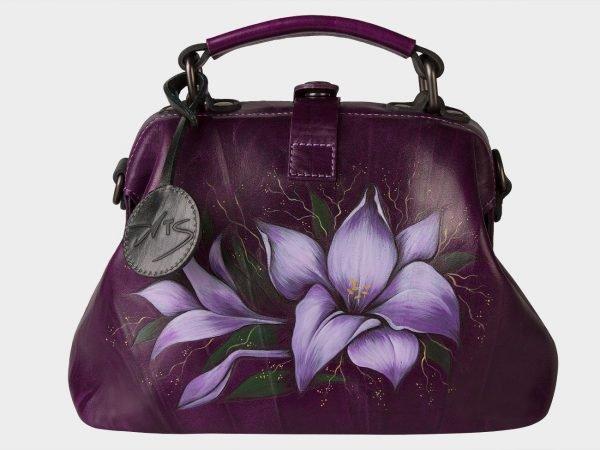 Удобная фиолетовая сумка с росписью ATS-1556