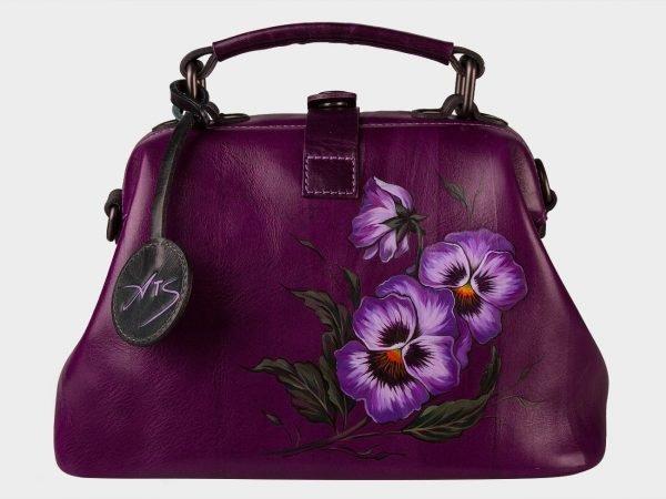 Уникальная фиолетовая сумка с росписью ATS-1532
