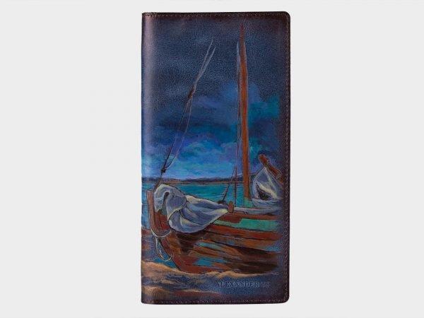Вместительный синий портмоне с росписью ATS-1540