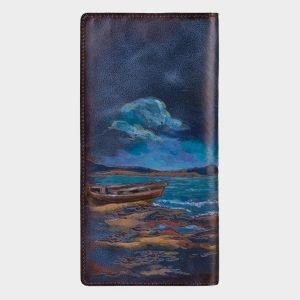Вместительный синий портмоне с росписью ATS-1540 216675
