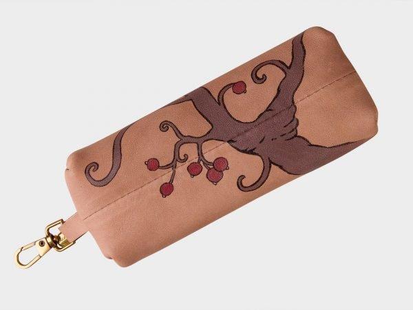 Кожаный бежевый аксессуар с росписью ATS-1538
