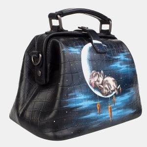 Функциональная черная сумка с росписью ATS-3234 213181