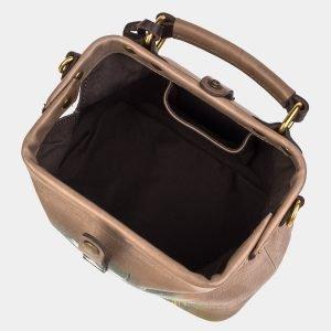 Солидная бежевая сумка с росписью ATS-3235