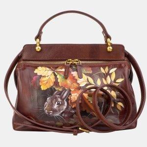 Солидная светло-коричневая сумка с росписью ATS-3237