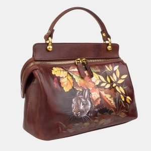 Солидная светло-коричневая сумка с росписью ATS-3237 213166
