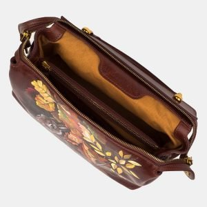 Солидная светло-коричневая сумка с росписью ATS-3237 213168