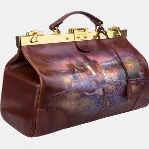 Неповторимый светло-коричневый саквояж с росписью ATS-3215 213250