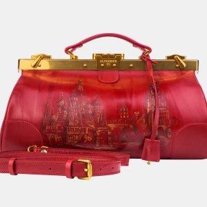 Кожаный красный саквояж с росписью ATS-3214