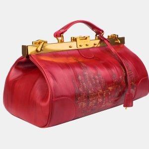 Кожаный красный саквояж с росписью ATS-3214 213255