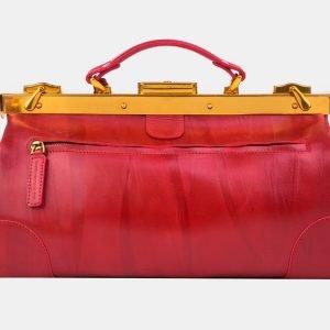 Кожаный красный саквояж с росписью ATS-3214 213256
