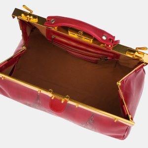 Кожаный красный саквояж с росписью ATS-3214 213257