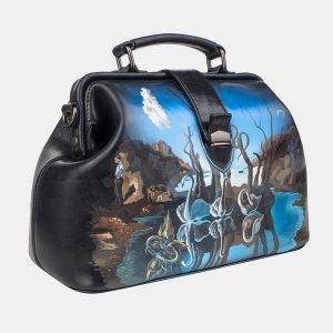 Вместительная черная сумка с росписью ATS-3239 213156